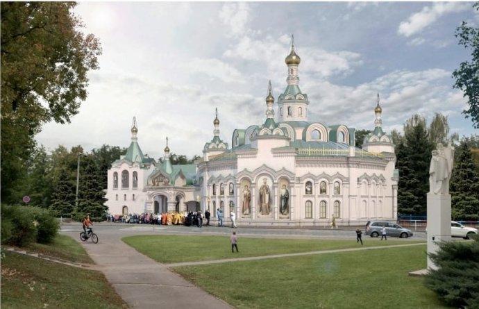 Chrám, který chce ruská pravoslavná církev, úzce spojená s ruským režimem, postavit místo brutalistní budovy. Pozemek vlastní sice česká diplomacie, ale pronajatý jej má na věčné časy ruská ambasáda. Foto: archiv Deníku N