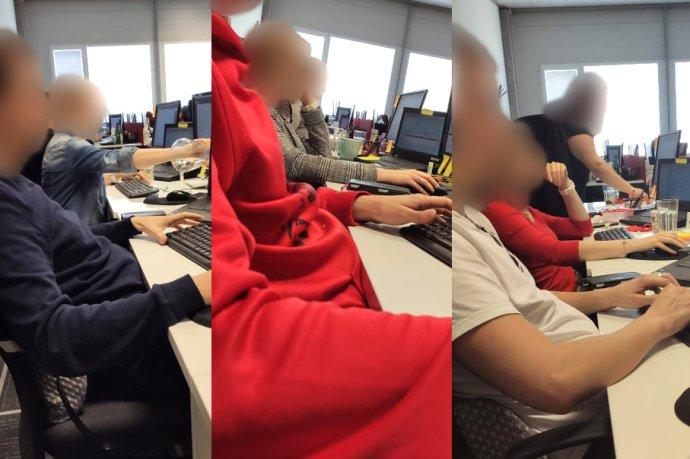 Kanceláře ve společnosti Zásilkovna. Zaměstnanci sedí bez jakýchkoliv ochranných pomůcek v těsné blízkosti. Koláž: Deník N