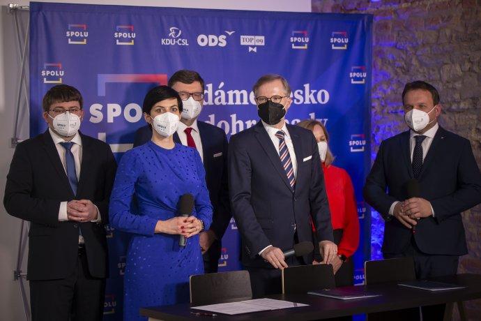 Lídři koalice Spolu. Foto:Gabriel Kuchta, DeníkN