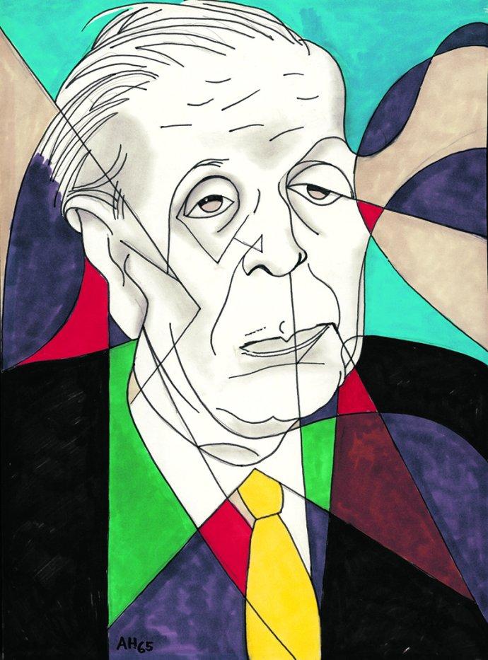 Borges naportrétu Adolfa Hoffmeistera. Kresba: Adolf Hoffmeister