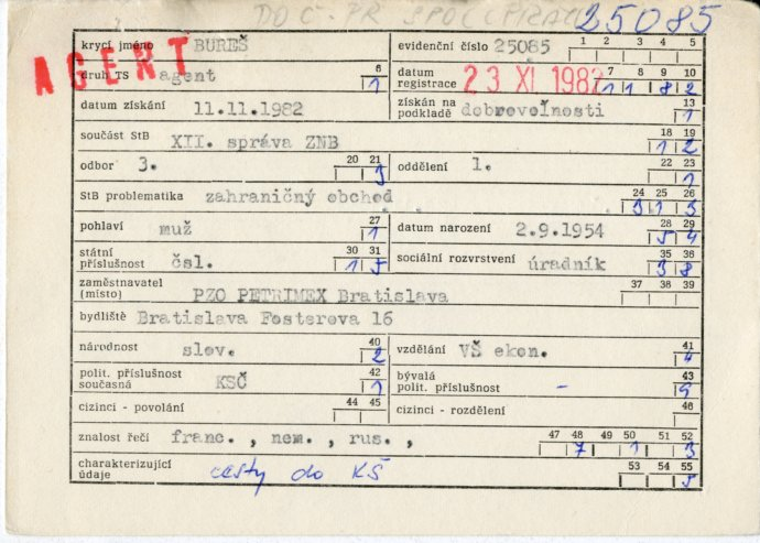 Statistická karta Andreje Babiše zmateriálů komunistické Státní bezpečnosti. Foto:Ústav paměti národa