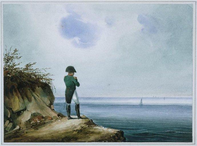Napoleon na Sv. Heleně. Obraz Franze (Františka) Xavera Sandmanna, německého malíře žijícího převážně vPraze, zroku 1820. Public domain