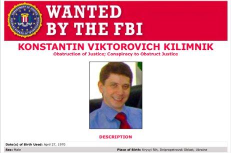 Na ruského agenta Konstantina Kilimnika byl vydán zatykač a odměna 250 tisíc dolarů za informaci vedoucí k jeho nalezení. Zdroj: FBI