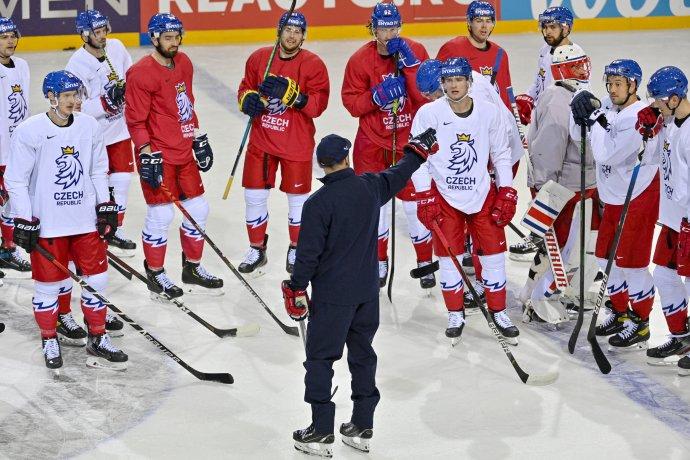 Trénink české hokejové reprezentace 20. května 2021 na mistrovství světav Rize. Foto: ČTK