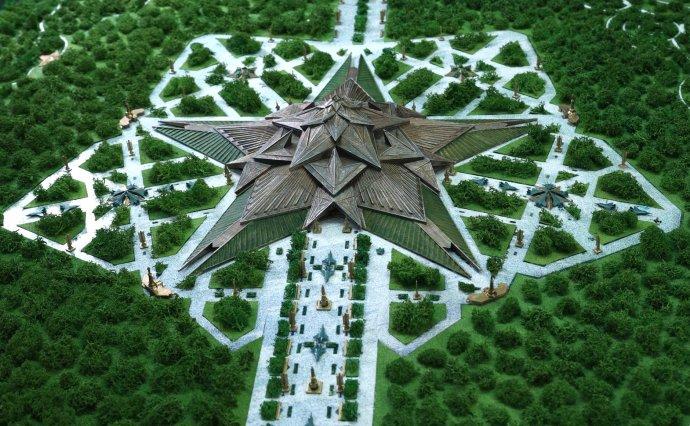Muzeum ve tvaru pěticípé hvězdy se bude rozprostírat na 150tisících metrech čtverečních. Vkaždém cípu bude ztvárněna jedna bitva. Foto:kremlin.ru