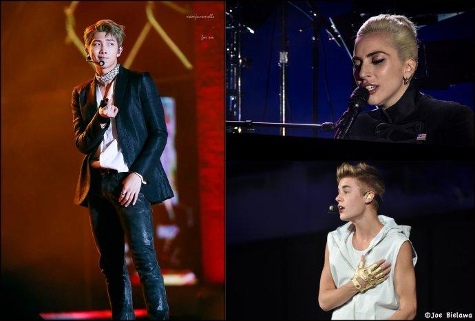 """Lídr BTS Kim Namdžon pobouřil vČíně loni, Lady Gaga už před pěti lety aJustin Bieber příliš """"zlobí"""". Foto:Justin Higuchi, Joe Bielawa, Flickr CC BY 2.0"""