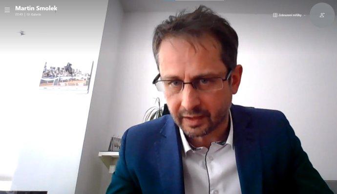 Náměstek ministra zahraničí Martin Smolek vonline rozhovoru pro DeníkN. Foto:Jan Moláček, DeníkN