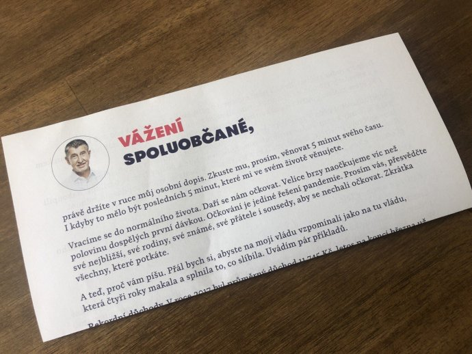 Dopis premiéra Andreje Babiše veřejnosti. Foto:Jan Tvrdoň, DeníkN