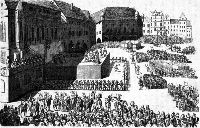 Staroměstská exekuce z 21. června 1621. Kresba Eduarda Herolda (1820–1895) podle staršího dřevorytu. Zdroj: Wikimedia Commons