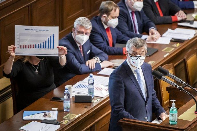 Premiér Babiš během jednání ovyslovení nedůvěry vládě. Foto:Gabriel Kuchta, Deník N