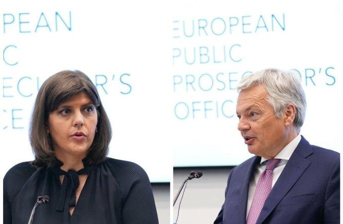 Evropská nejvyšší žalobkyně Laura Codruta Kövesiová a evropský komisař pro justici Didier Reynders při zahájení činnosti Úřadu evropského veřejného žalobce v Lucemburku. Foto: Twitterový účet Didiera Reynderse.