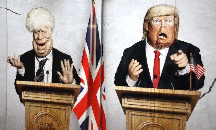 Jen s bohatými a vzdělanými voliči by to Boris Johnson ani Donald Trump tak daleko nedotáhli (reklama na známou televizní show Spitting Image, jejíž snímek byl pořízen v londýnském metru). Ilustrační foto: ČTK / SOPA Images via ZUMA Wire
