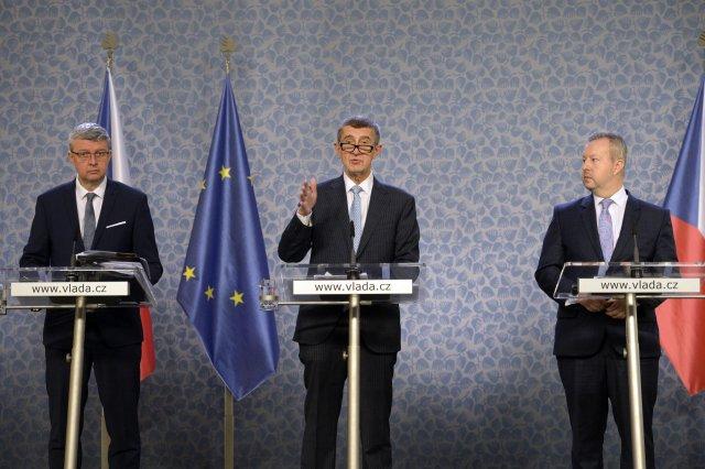 Vjakých krajích budou ohlasy voličů usilovat (zleva) Karel Havlíček, Andrej Babiš aRichard Brabec, zatím není definitivně rozhodnuto. Foto:Kateřina Šulová, ČTK