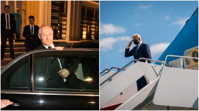 Prezidenti Putin aBiden na cestě domů. Foto:kremlin.ru aBílý dům, Adam Schulz, koláž DeníkN