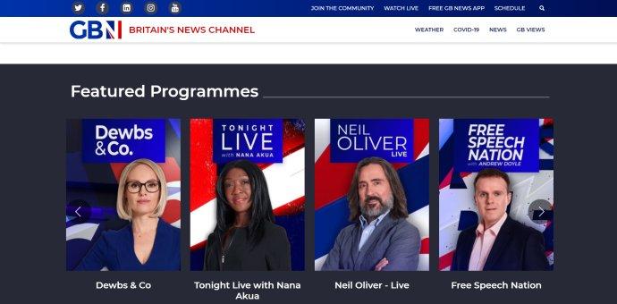 Titulní strana webu nové britské zpravodajské televize GB News. Zdroj: GB News, gbnews.uk
