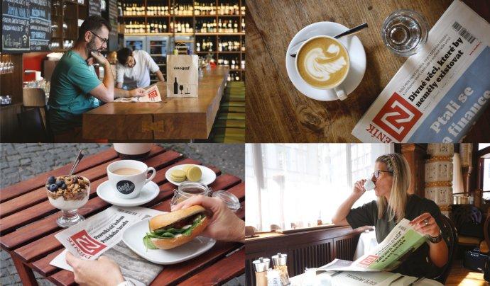 Tištěný Deník N už teď najdete například v podnicích Vinograf, Můj šálek kávy, Škoda nezajít nebo Café Imperial. Koláž: Deník N