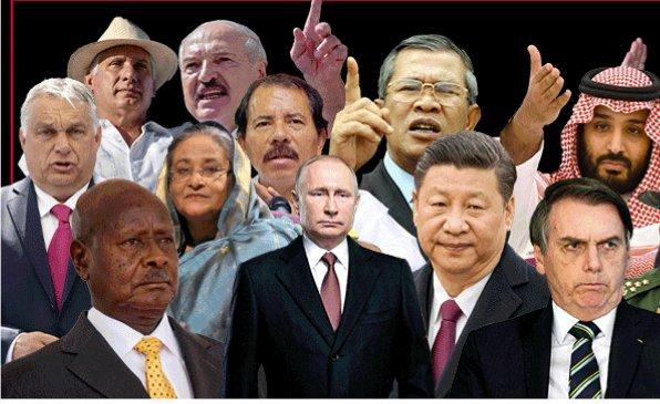 Autokrati adiktátoři podle Reportérů bez hranic. Koláž: RSF