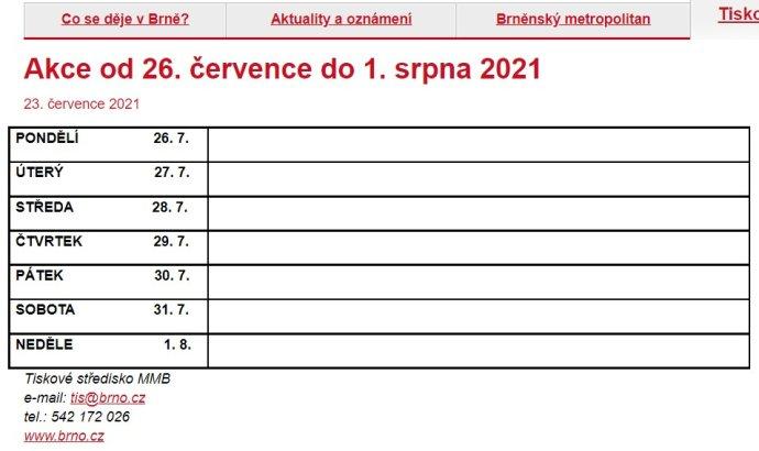 Program akcí, kterých se účastní vedení města Brna, zveřejněný na webu magistrátu. Foto: brno.cz