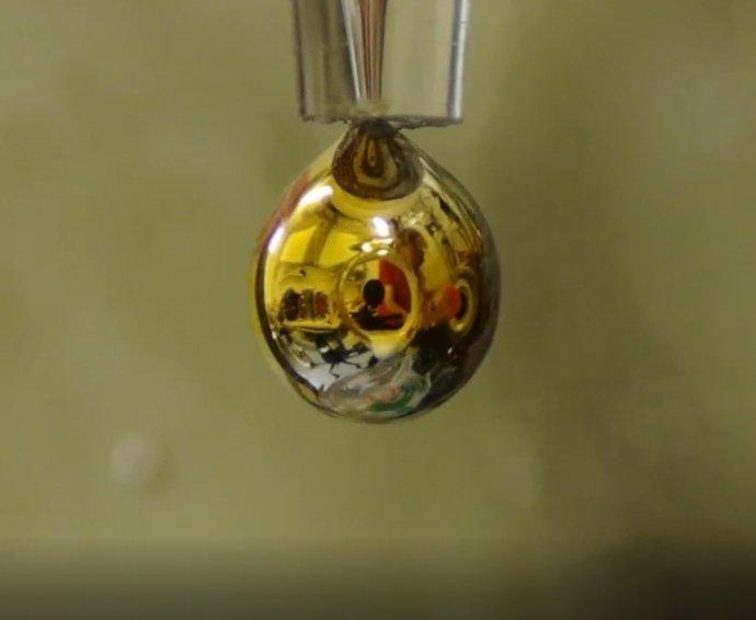 Kapka slitiny sodíku adraslíku vystavená působení vodní páry 10–4mbar. Na kapce se usadila vrstvička vody, vníž se rozpustily elektrony uvolňované zkovu, čímž získala zlatý kovový lesk. Foto:Phil Mason / ÚOCHB