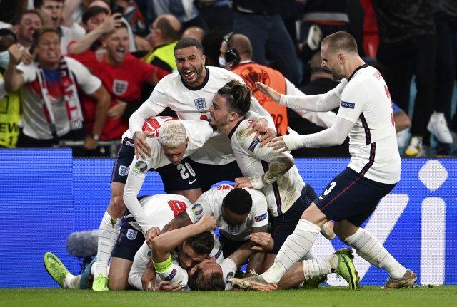 Anglická fotbalová reprezentace postoupila do finále mistrovství Evropy vůbec poprvé vhistorii. Foto:ČTK/ AP/ Andy Rain