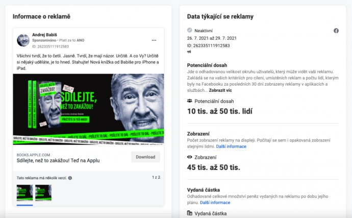 Statistiky Babišovy politické reklamy na Facebooku.