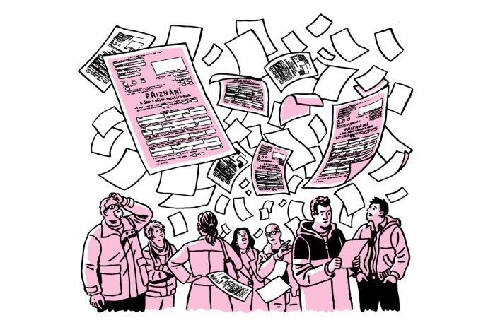 Nejvíce peněz včeském daňovém mixu plyne zpráce. Ilustrace: Petr Polák, DeníkN