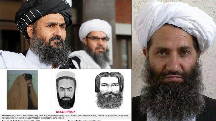 """Vpravo třetí (anynější) nejvyšší vůdce Tálibánu, """"premiér"""" Hajbatulláh Achúndzáda. Vlevo nahoře vlivný diplomat aspoluzakladatel Abdul Ghání Baradar; dole plakát FBI nabízející odměnu za dopadení """"globálního teroristy"""" Siradžuddína Hakkáního. Foto:Reuters, Wikimedia Commons Public Domain, FBI.gov. Koláž: DeníkN"""