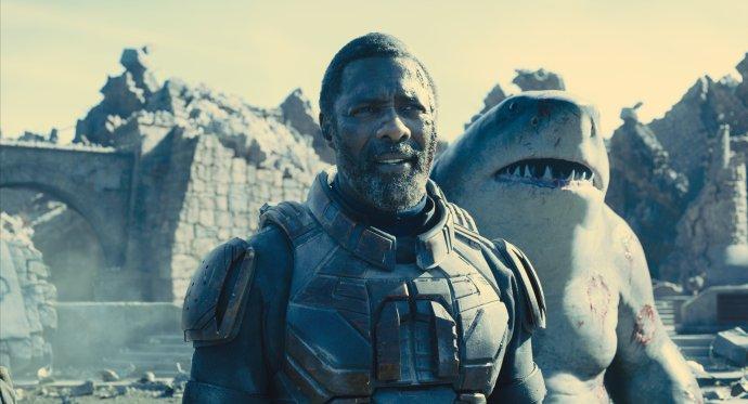Idris Elba a žralok mluvící hlasem Sylvestera Stalloneho. Foto: Vertical Entertainment