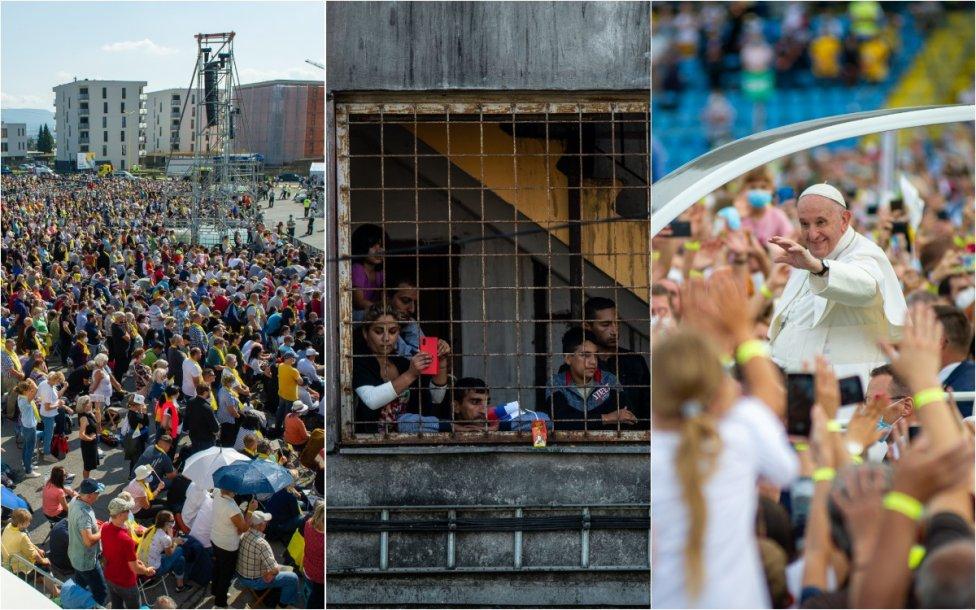 Dav lidí vPrešově, Romové na košickém sídlišti Luník IX apapež vKošicích. Foto:Peter Lázár aVladimír Šimíček, DenníkN