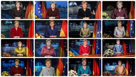 Angela Merkelová ve svých 16novoročních projevech zberlínského kancléřství, počínaje přelomem let 2005–2006akonče změnou letopočtu 2020–2021. Foto:Bundesregierung