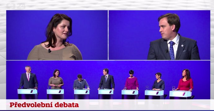 Předvolební debata lídrů stran kandidujících vPraze. Reprofoto: ČT24