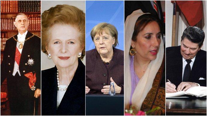 De Gaulle, Thatcherová, Bhuttová, Reagan– avhistorii mezi nimi iMerkelová? Koláž: DeníkN