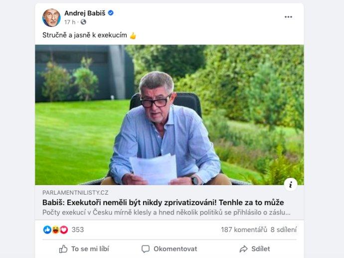 Andrej Babiš aParlamentní listy. Foto:Reprofoto Facebook Andreje Babiše.