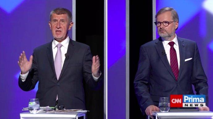Finálový duel debaty na CNN Prima News. Foto: repro CNN Prima News