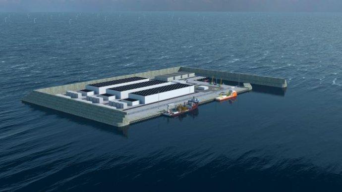 """Projekt dánského """"energetického ostrova"""" v Severním moři, 80 km od západního pobřeží. Grafika: Energistyrelsen, ens.dk"""
