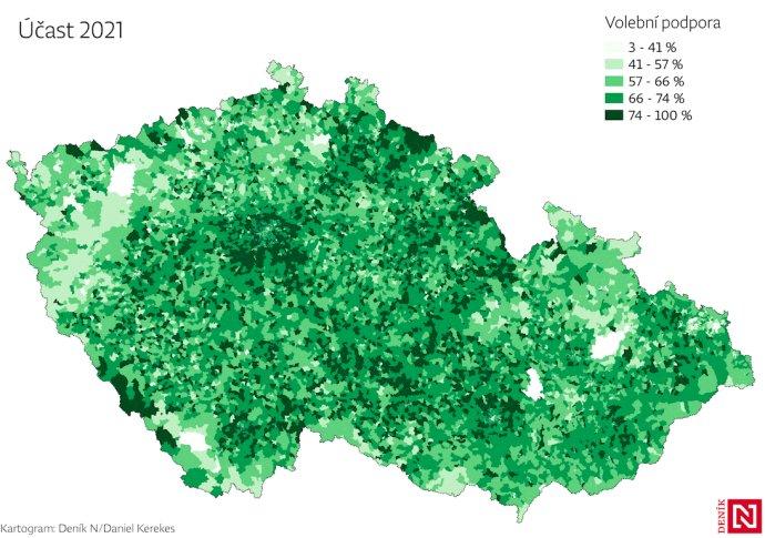 Mapa volební účasti voleb 2021. Foto:DeníkN