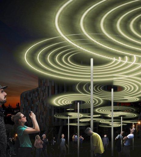 Světelná instalace designérů Vrtiška &Žák ukarlínské budovy Kooperativa. Foto:Signal Festival